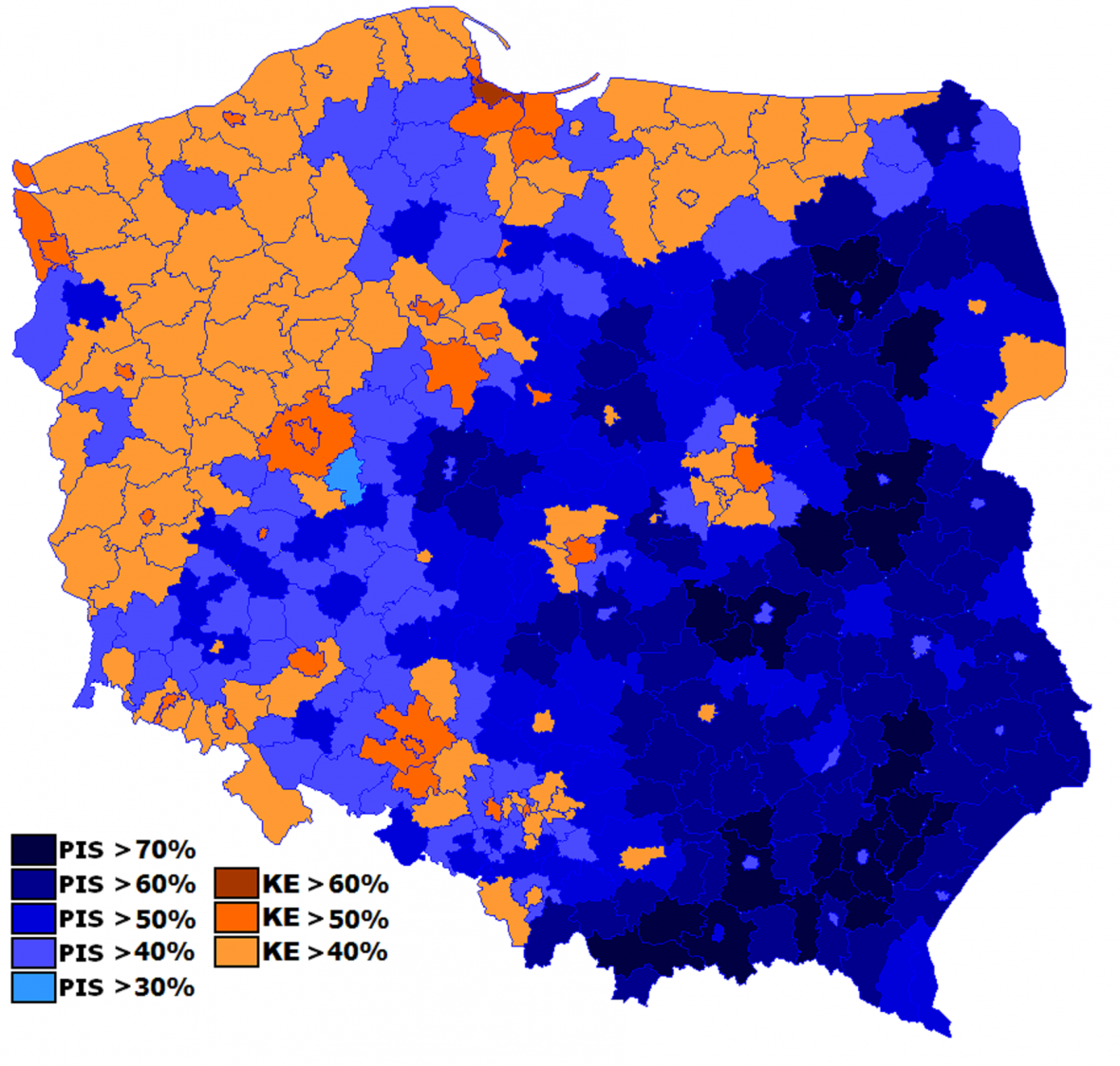 Výsledky voleb do Evropského parlamentu v květnu 2019. Modře Právo a spravedlnost, oranžově Evropská koalice