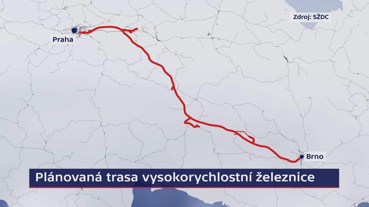 Plánovaná trasa tratě pro rychlovlaky
