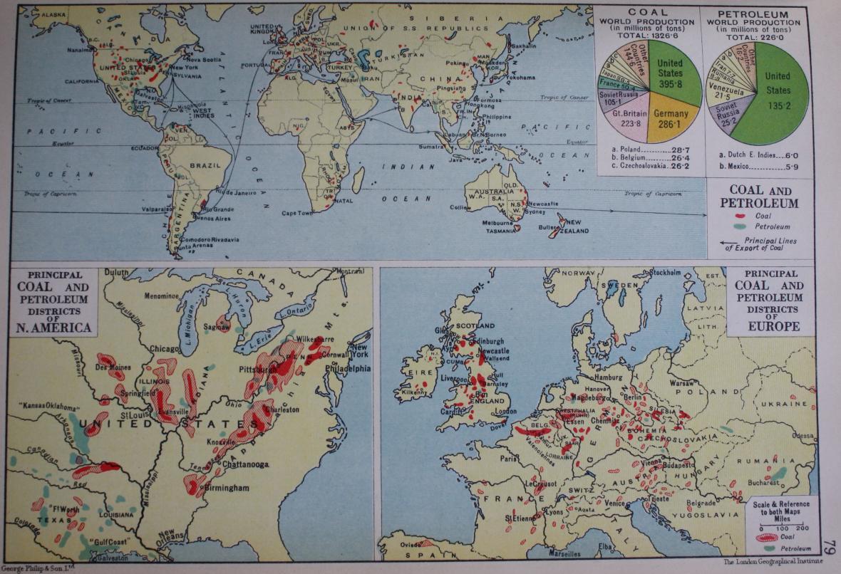 Mapa uhlí a ropy v atlase z roku 1938
