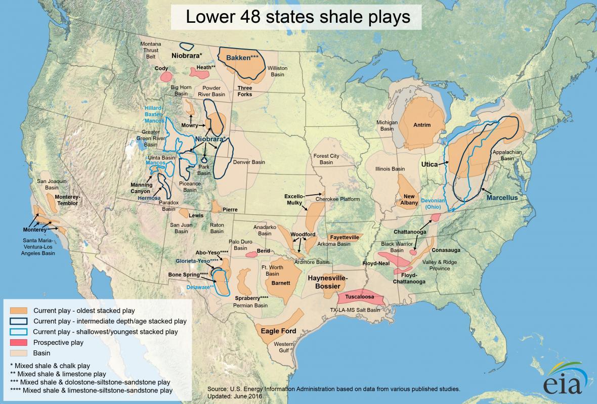 Naleziště zemního plynu v USA