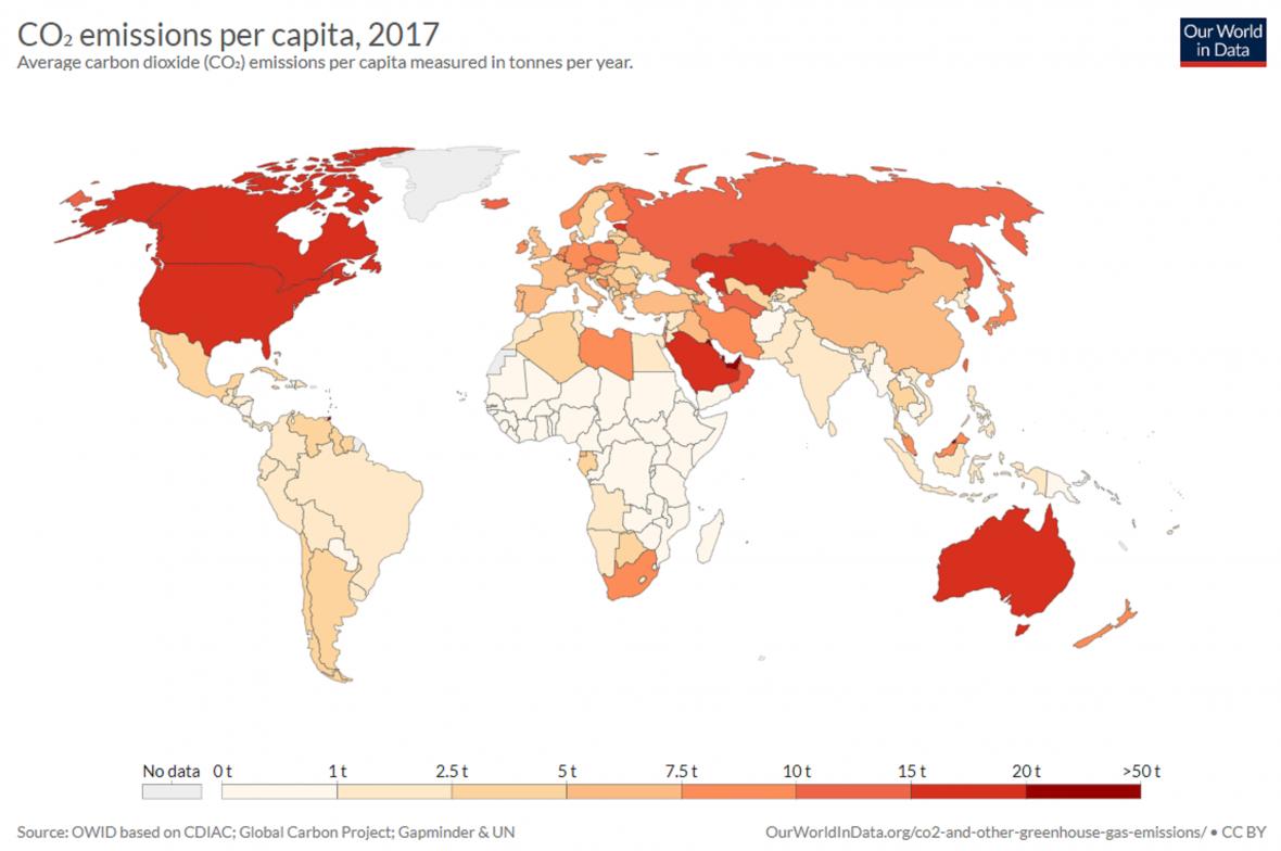 Emise oxidu uhličitého na hlavu (2017)