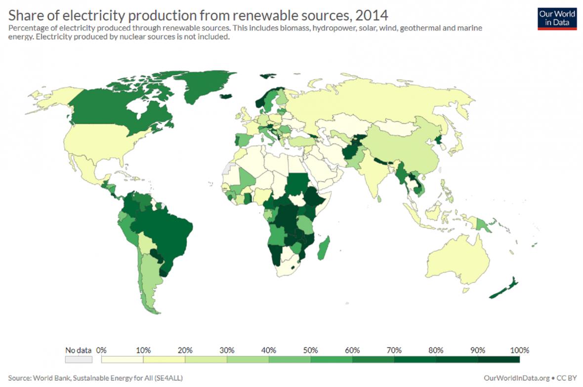Podíl elektřiny z obnovitelných zdrojů