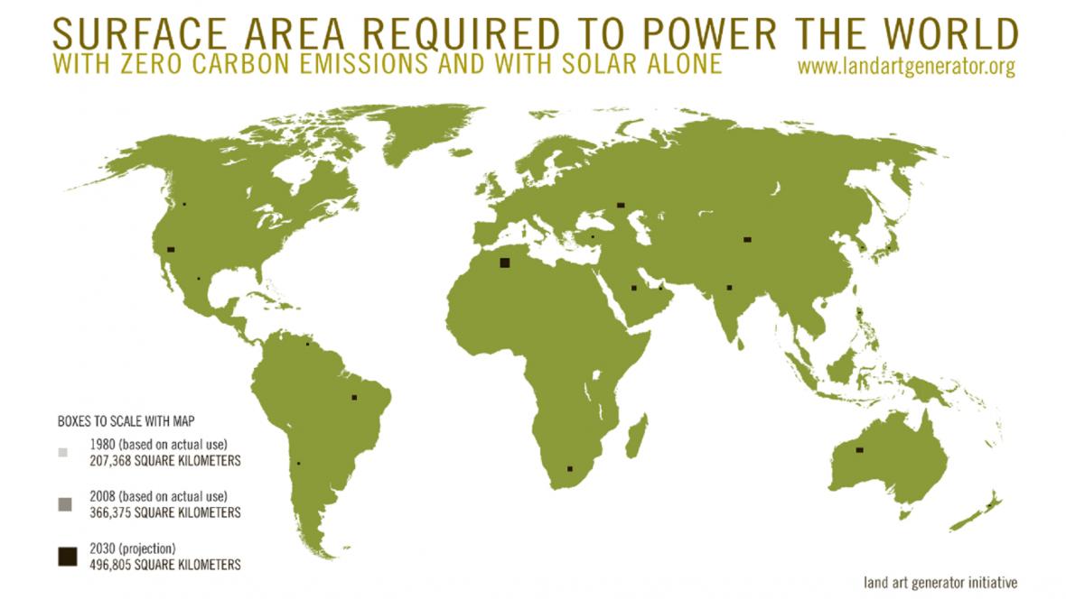 Černé čtverce představují plochu nutnou k zajištění elektřiny výhradně ze slunečního svitu