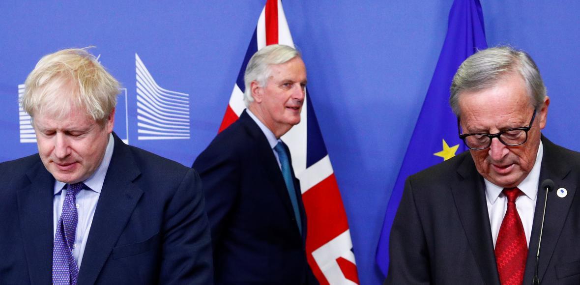 Boris Johnson, Michel Barnier a Jean-Claude Juncker