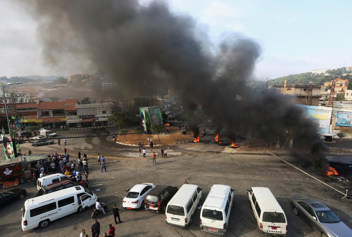 Blokáda silnic na jihu Libanonu