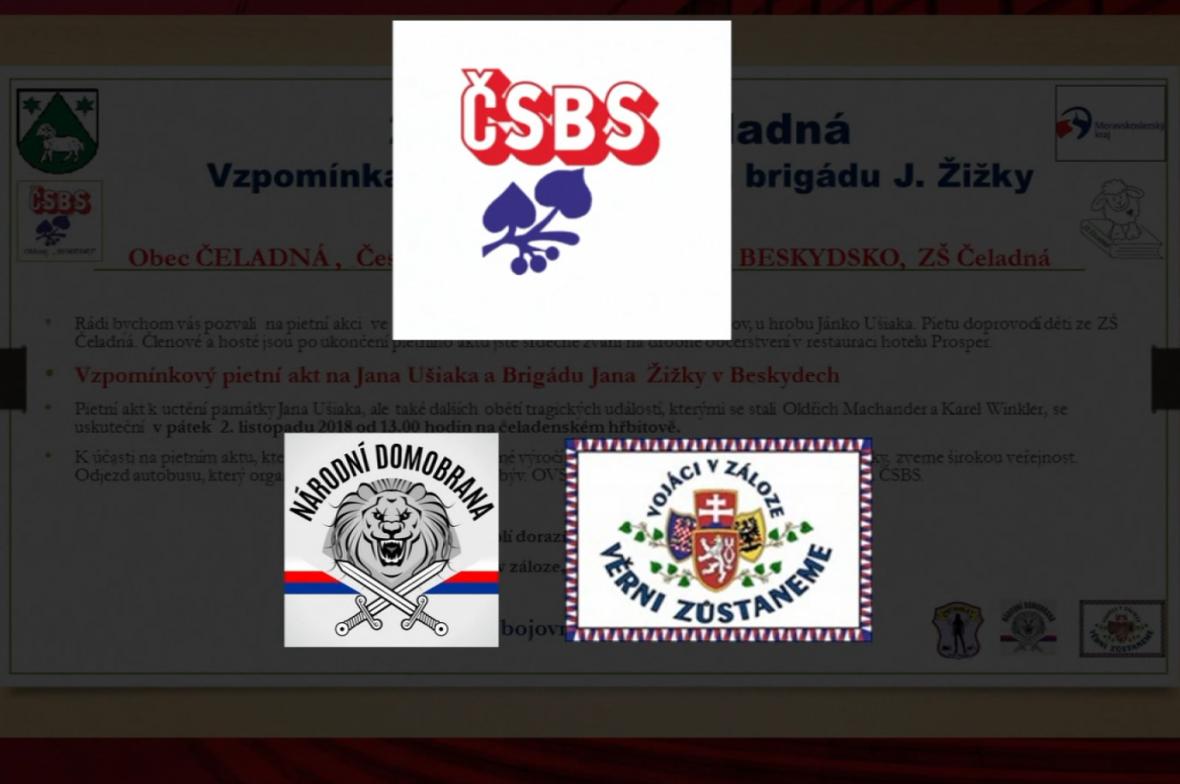 Loga ČSBS, Československých vojáků v záloze a Národní domobrany na společné pozvánce na jednu z akcí na Beskydsku