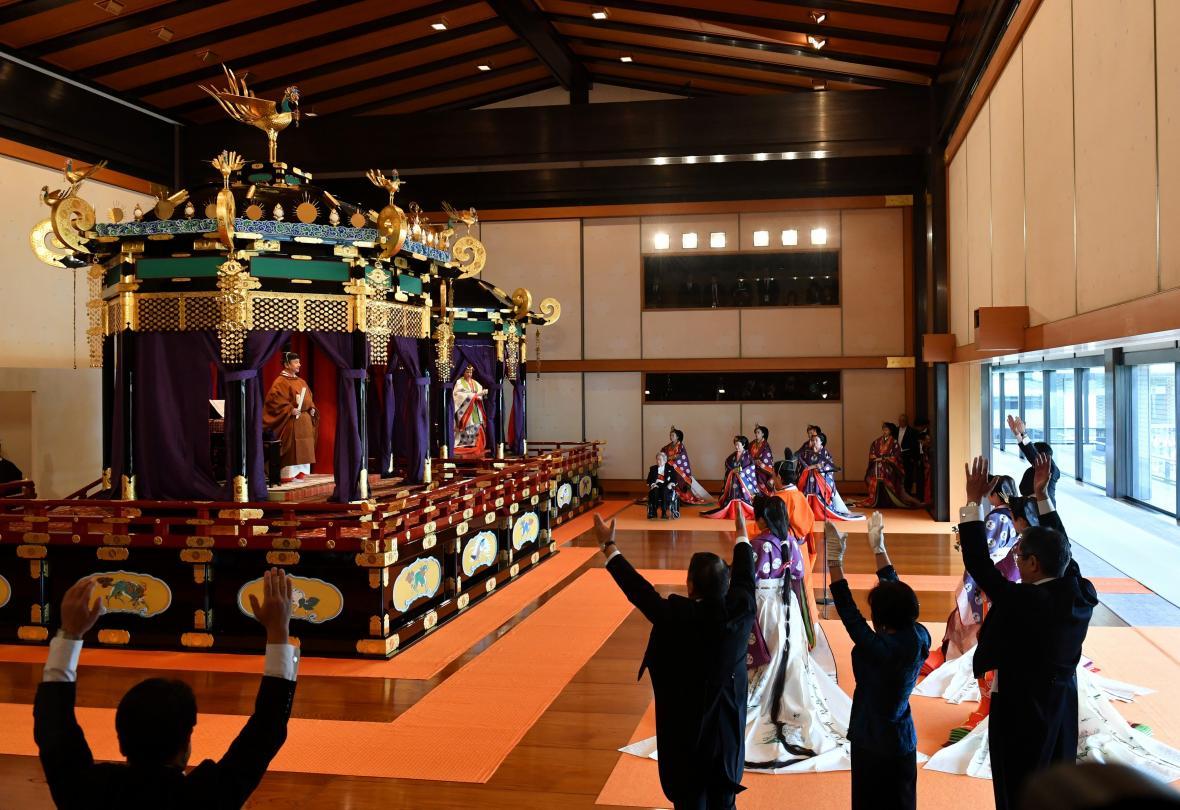 Ceremonie, při níž byl nový japonský císař uveden na trůn