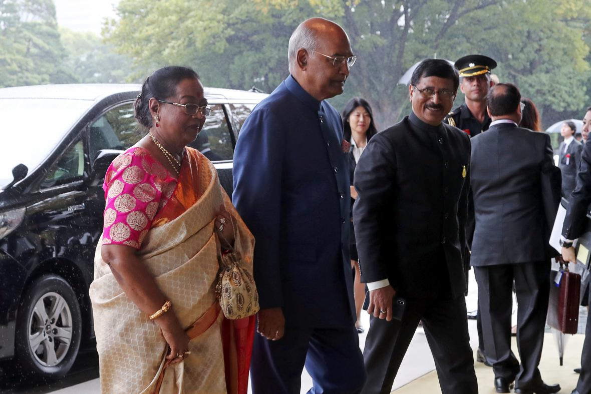 Indický prezident Rám Náth Kóvind s manželkou
