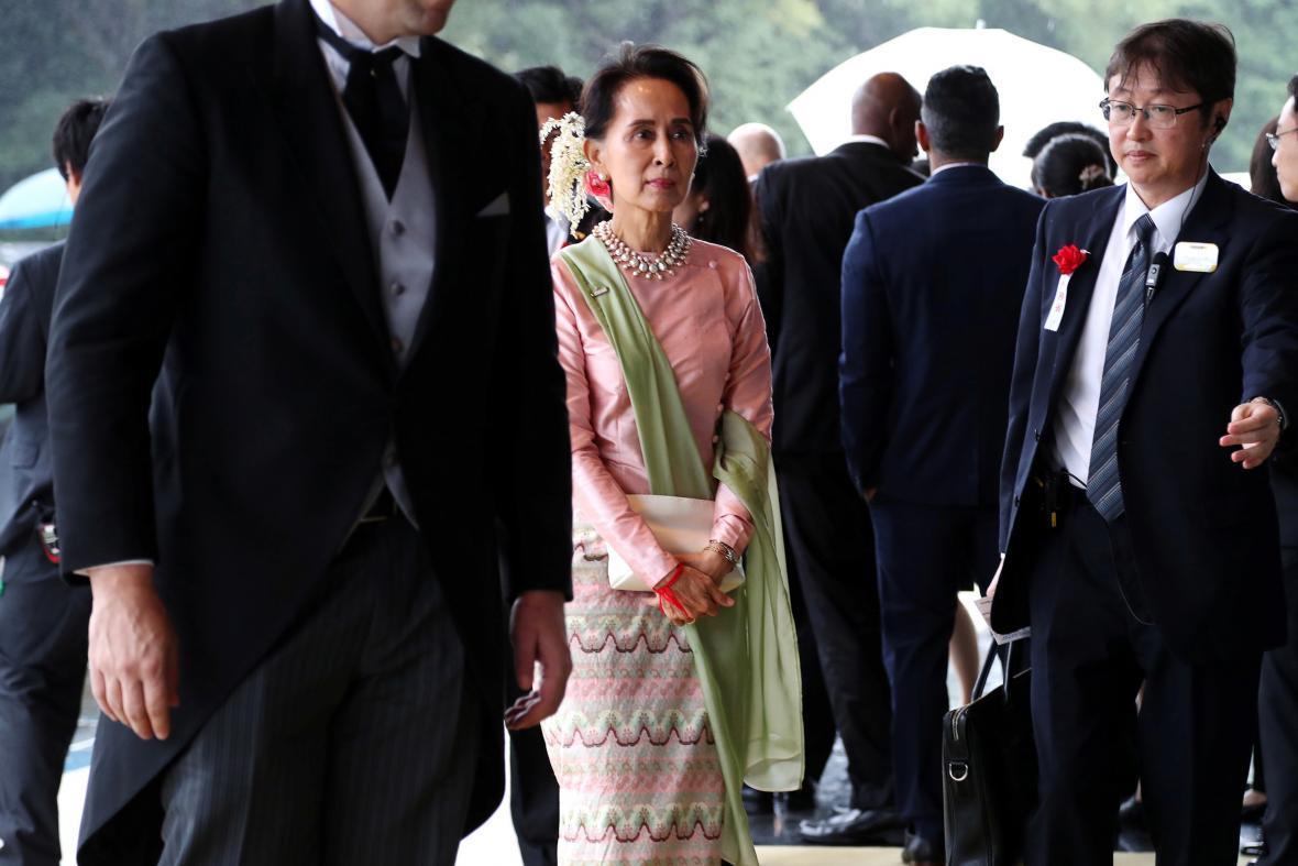 Příchod myanmarské vůdkyně Su Ťij