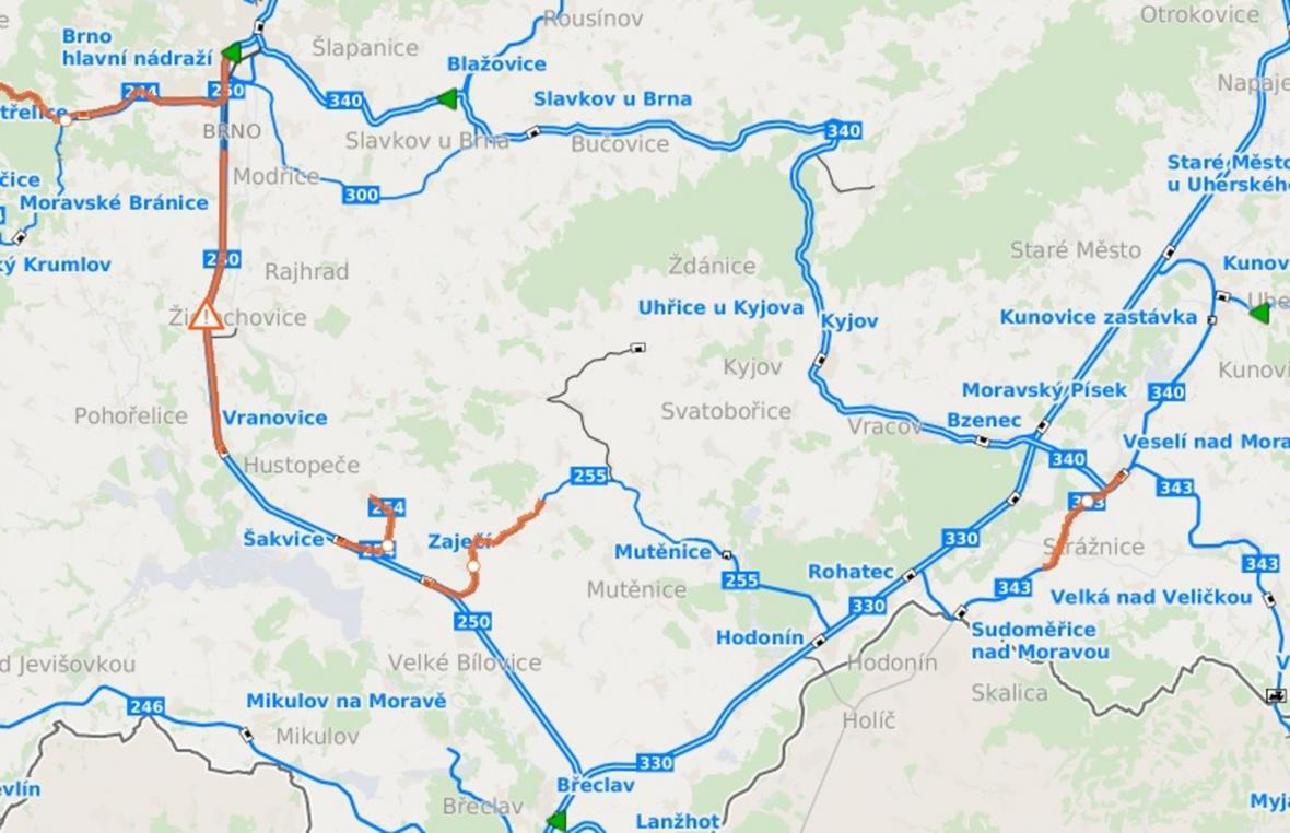 Mimořádná situace na železnici mezi Brnem a Břeclaví
