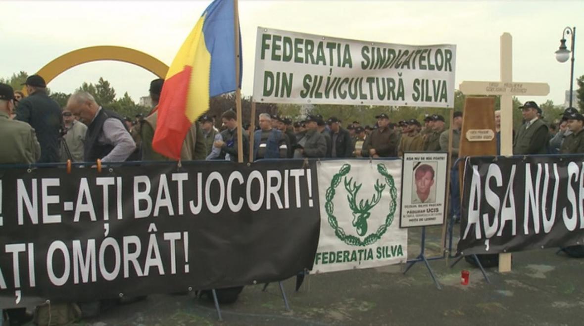 Demonstrace lesníků v Bukurešti