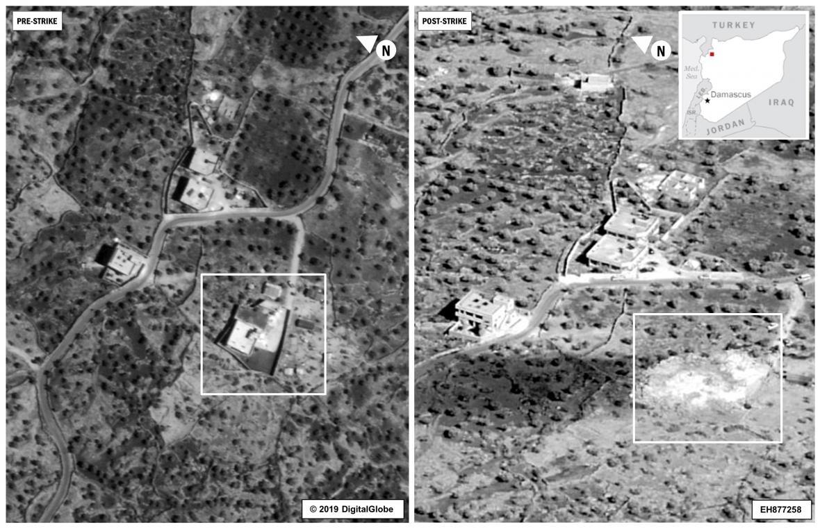 Snímky před a po útoku na Bagdádího