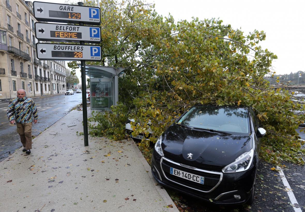 Zlomený strom v jihofrancouzském Bayonne