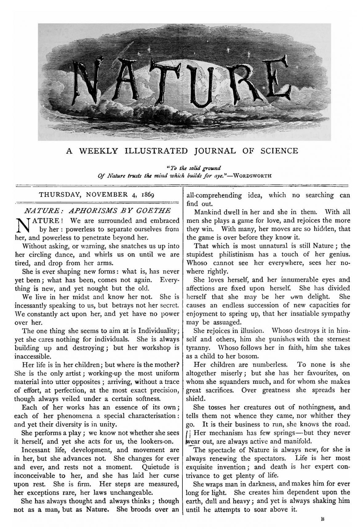První číslo žurnálu Nature