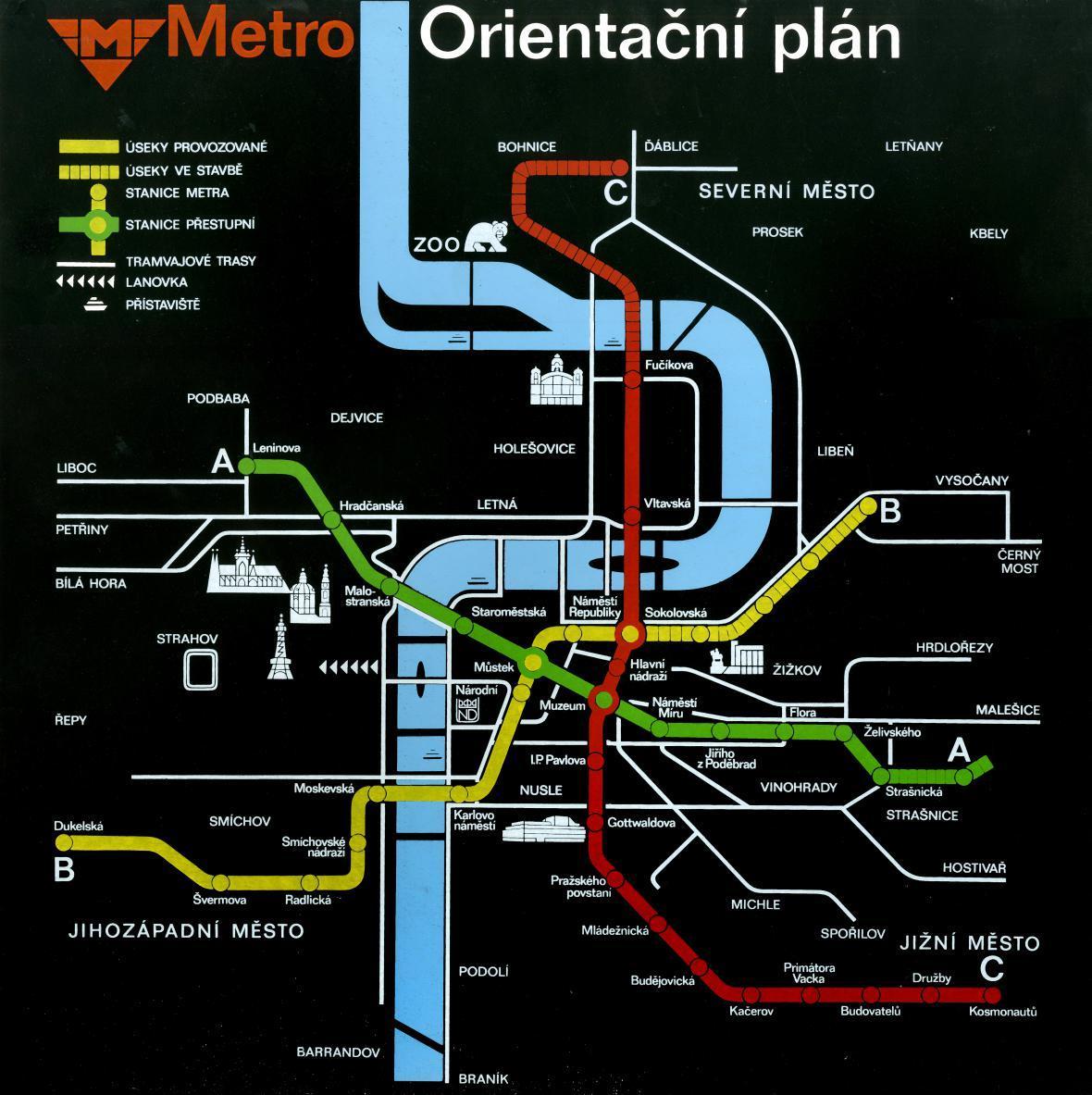 Pražské metro – orientační plán platný k roku 1988