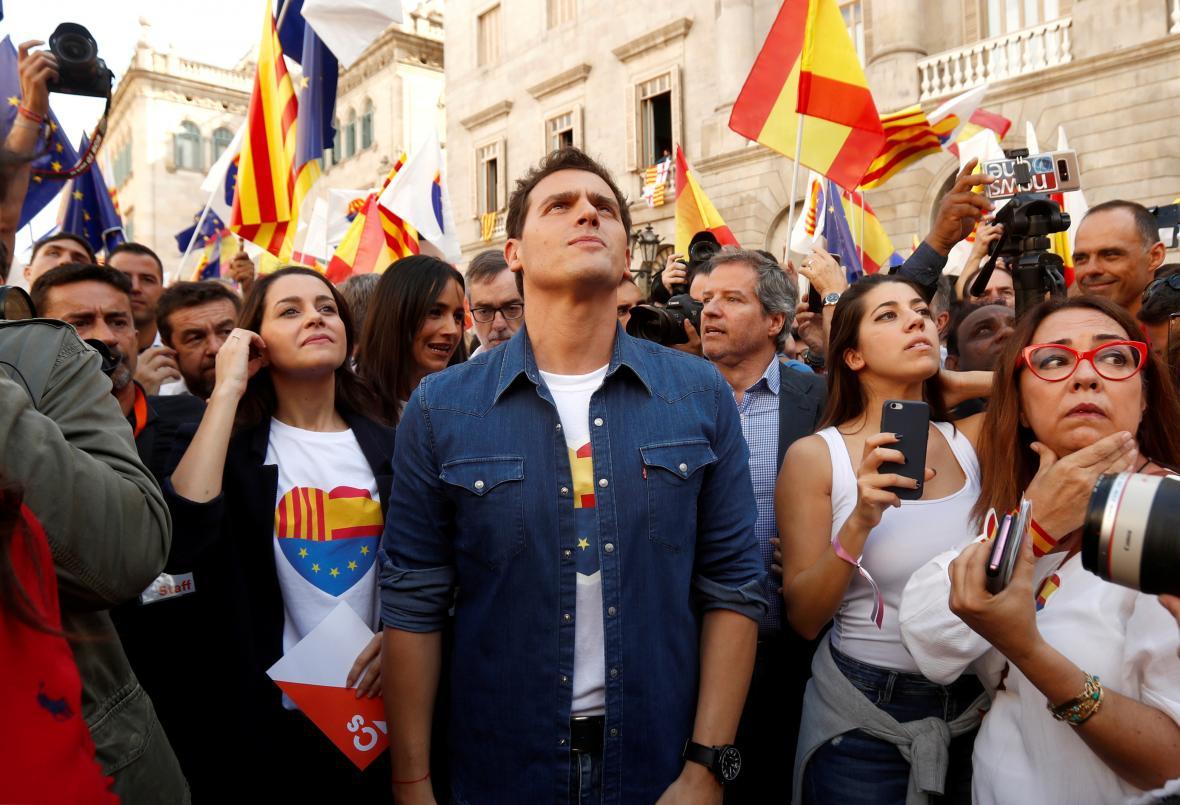 Šéf Ciudadanos Albert Rivera na demonstraci za jednotu Španělska