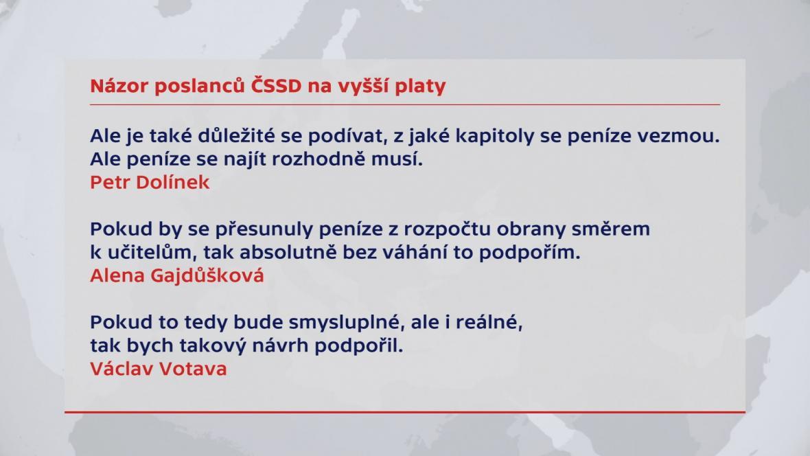 Názory poslanců ČSSD na vyšší platy