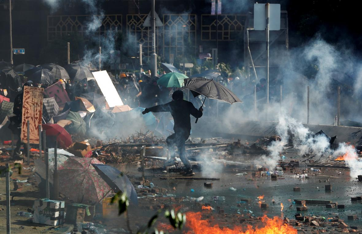 Násilné střety v Hongkongu