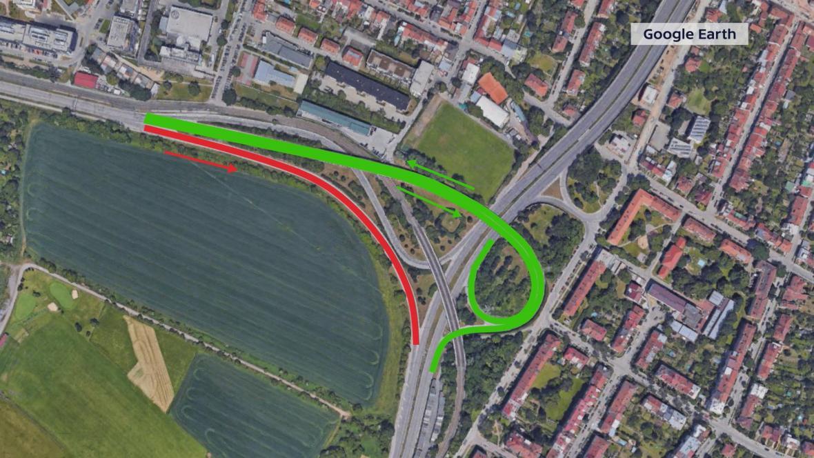 Uzavřená silnice z Bystrce na Žabovřeskou
