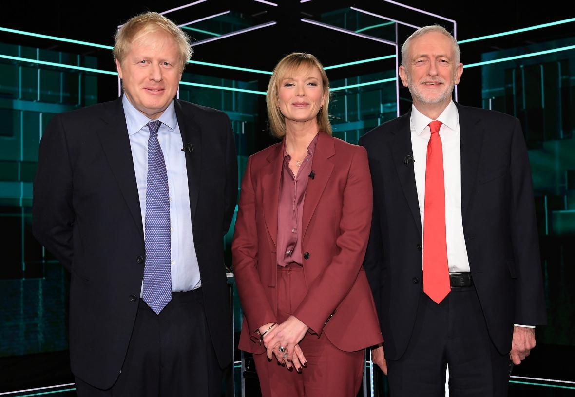 Boris Johnson a Jeremy Corbyn v první televizní debatě ITV