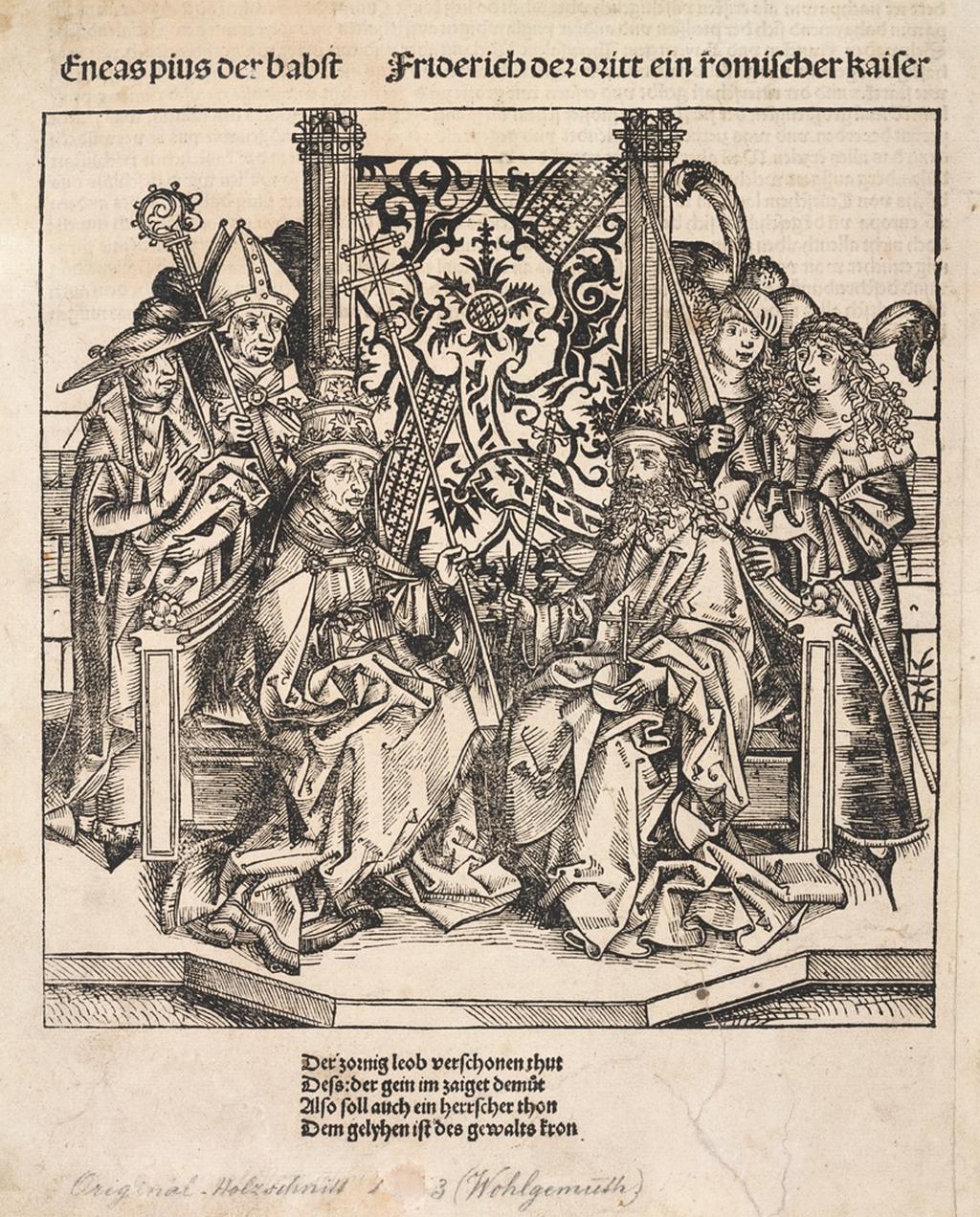 Michael Wolgemut a Wilhelm Pleydenwurf / Papež Pius II. a římský císař Friedrich III., 1493, dřevořez