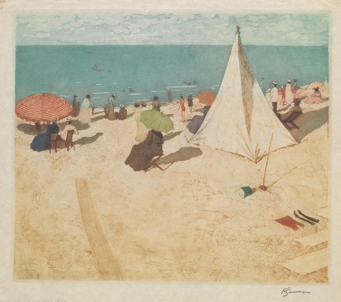 Tavík František Šimon / Slunná pláž, nedatováno (1906), měkký kryt (vernis mou), akvatinta barevná, suchá jehla, papír