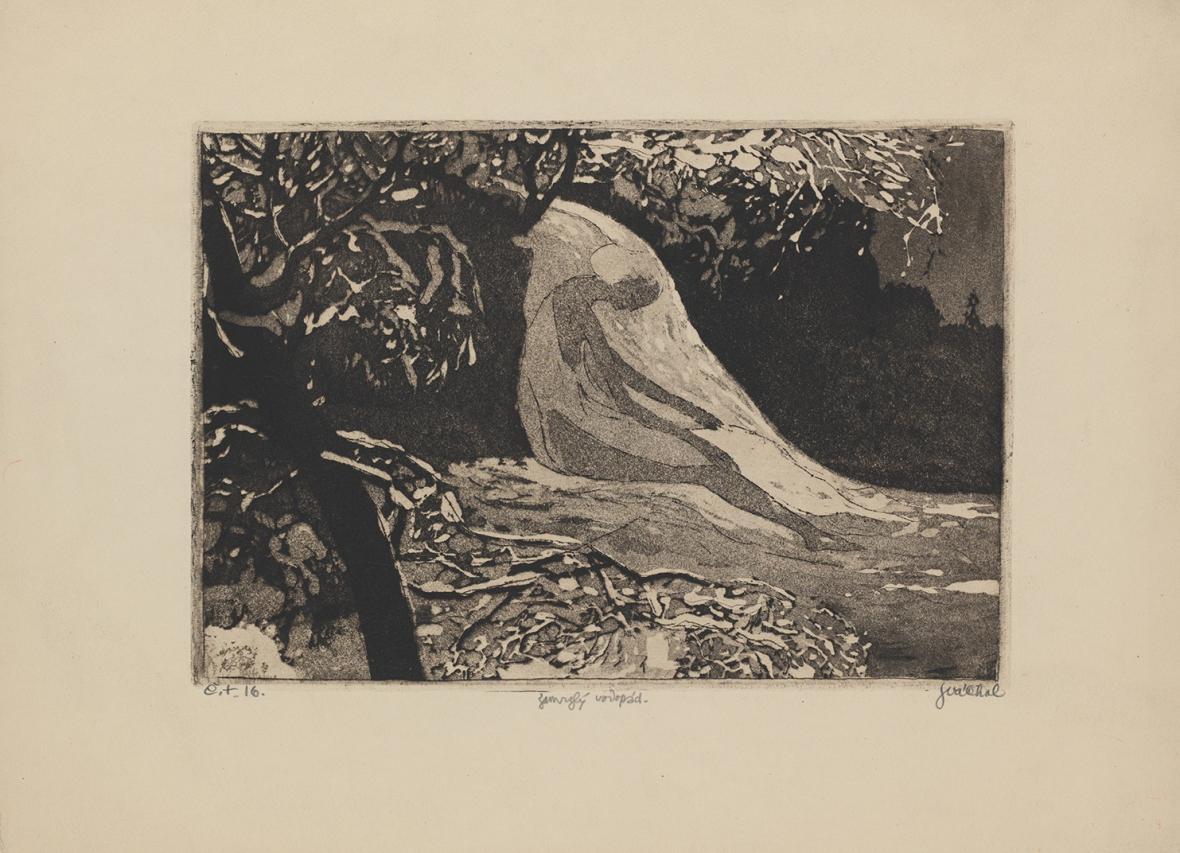 Josef Váchal / Zamrzlý vodopád, nedatováno (1913), čárový lept, akvatina, papír