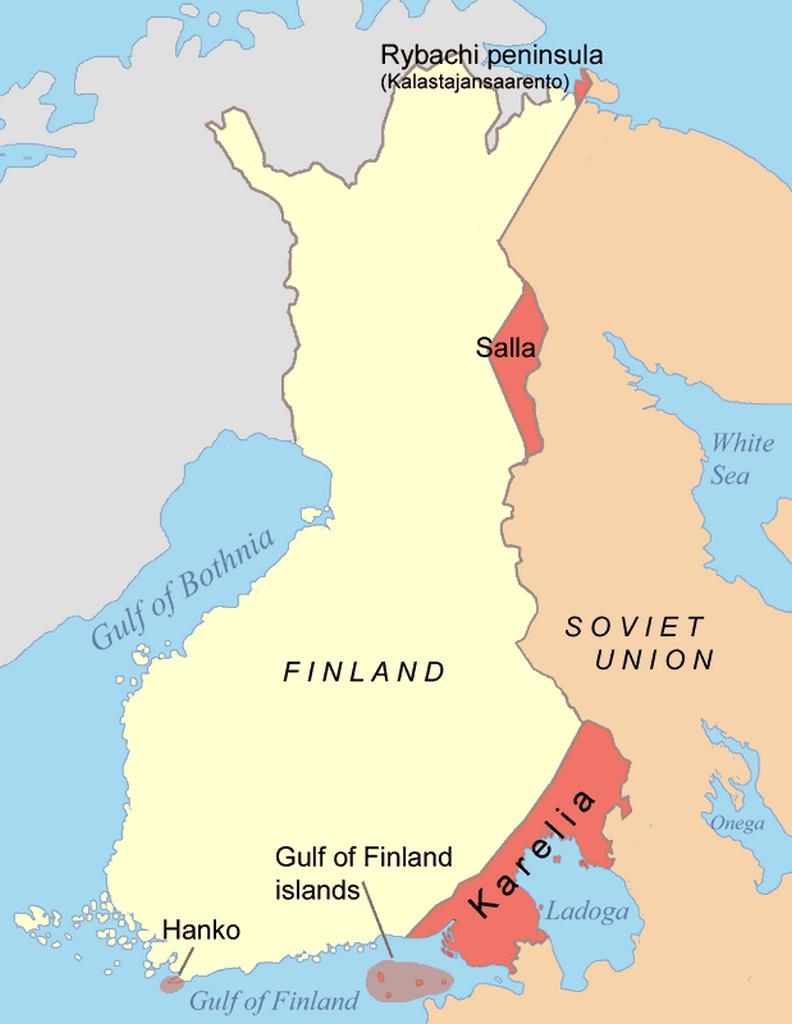 Oblasti postoupené Finskem Sovětskému svazu