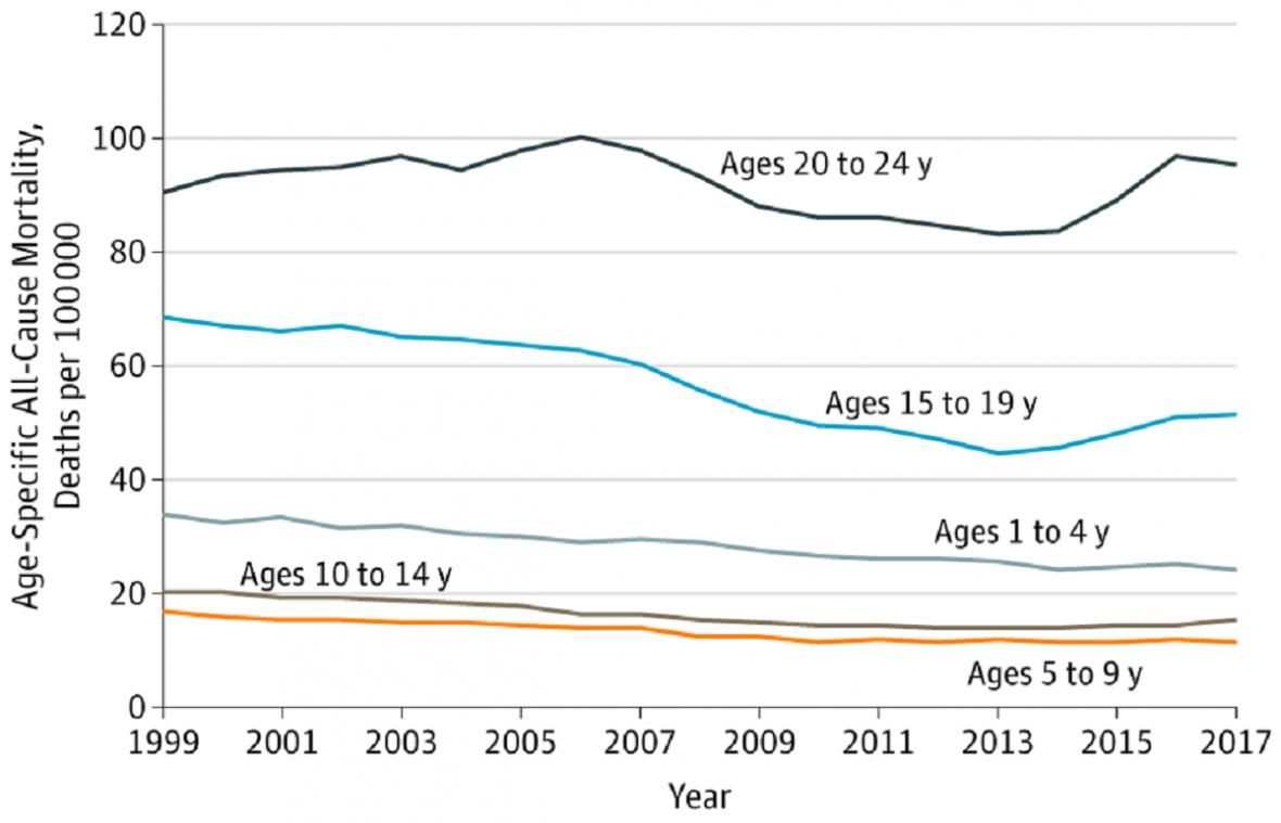 Úmrtnost v různých věkových skupinách v USA