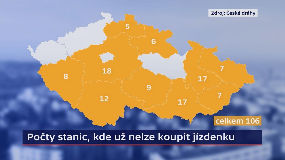 Počty stanic, kde už nelze koupit jízdenku (2. 12. 2019)