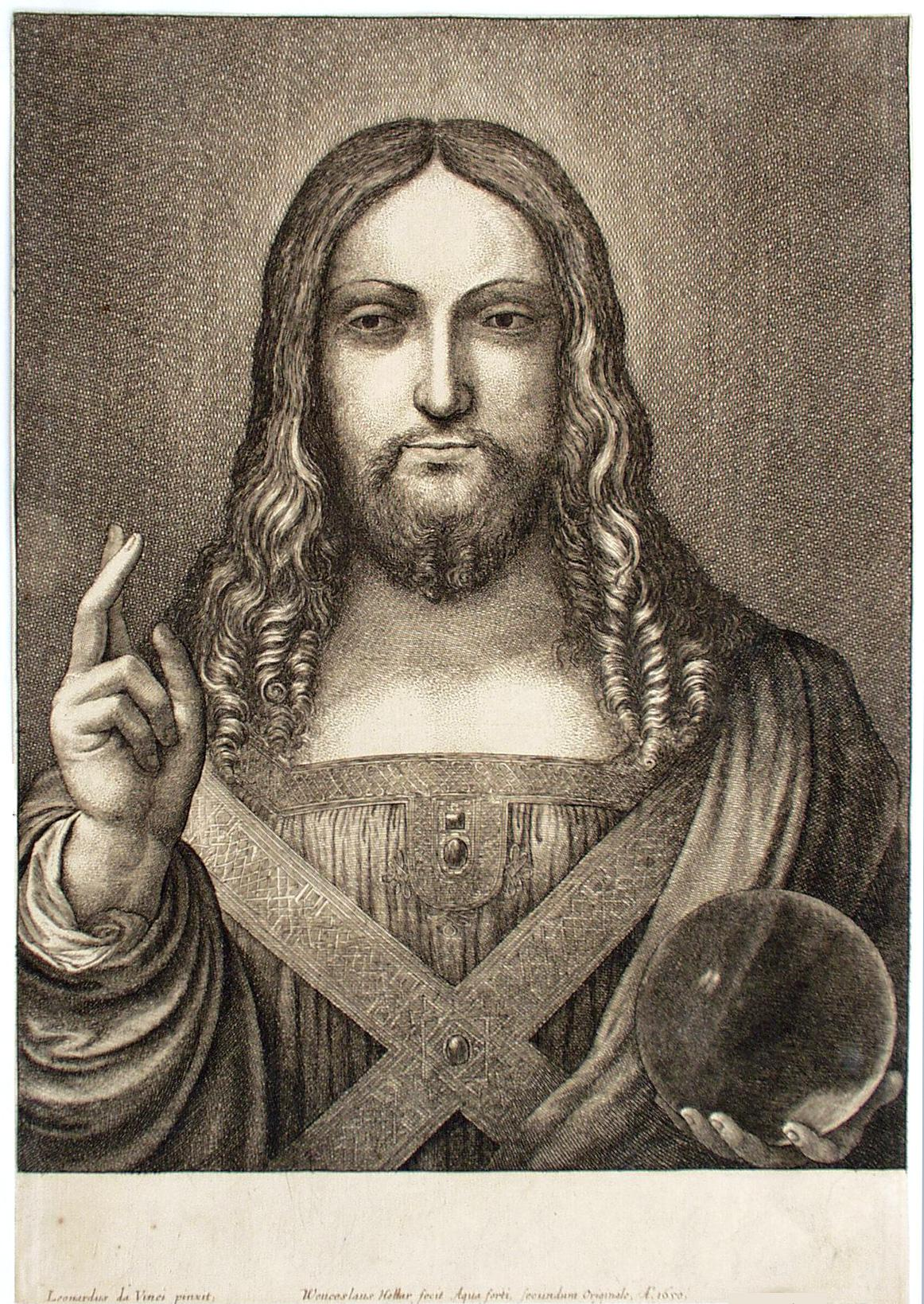 Grafika Václava Hollara podle díla Leonarda da Vinci, Kristus spasitel, 1650