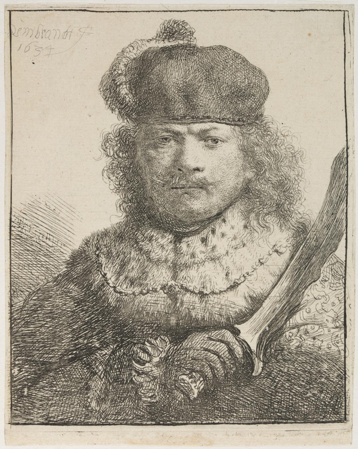 Rembrandt van Rijn / Autoportrét se vztyčenou šavlí, 1634