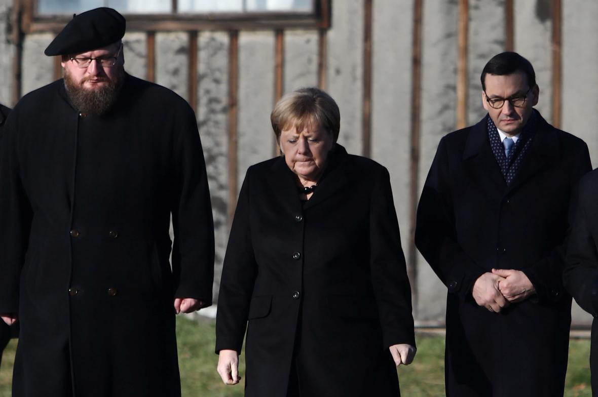 Německou kancléřku doprovodil polský premiér Mateusz Morawiecki