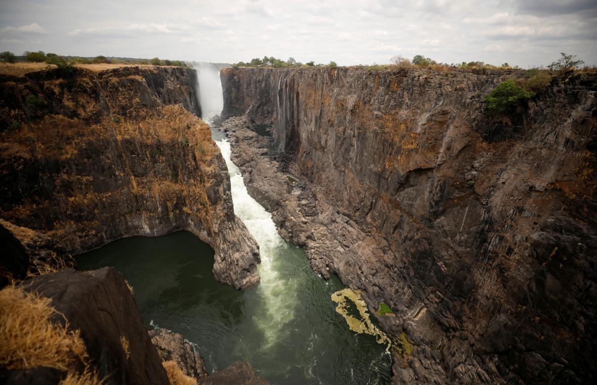 Vysychající Viktoriiny vodopády