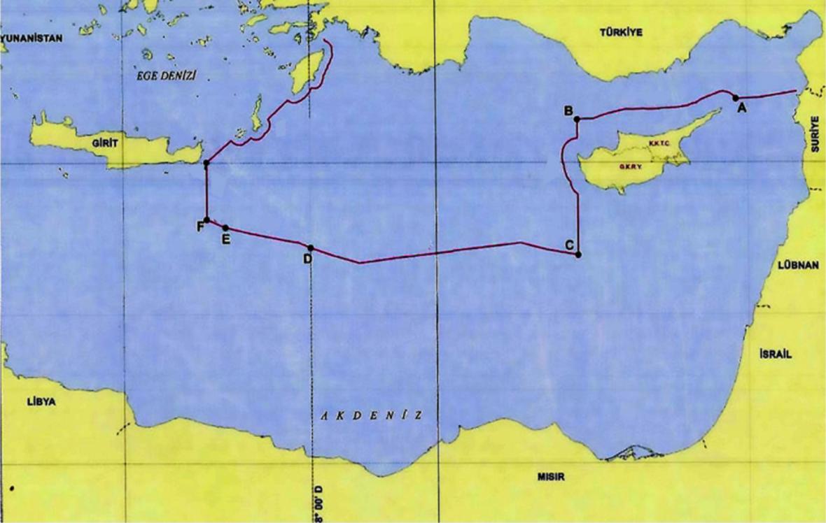 Námořní hranice podle představ Turecka. Mapu publikoval turecký diplomat Cagatay Erciyes