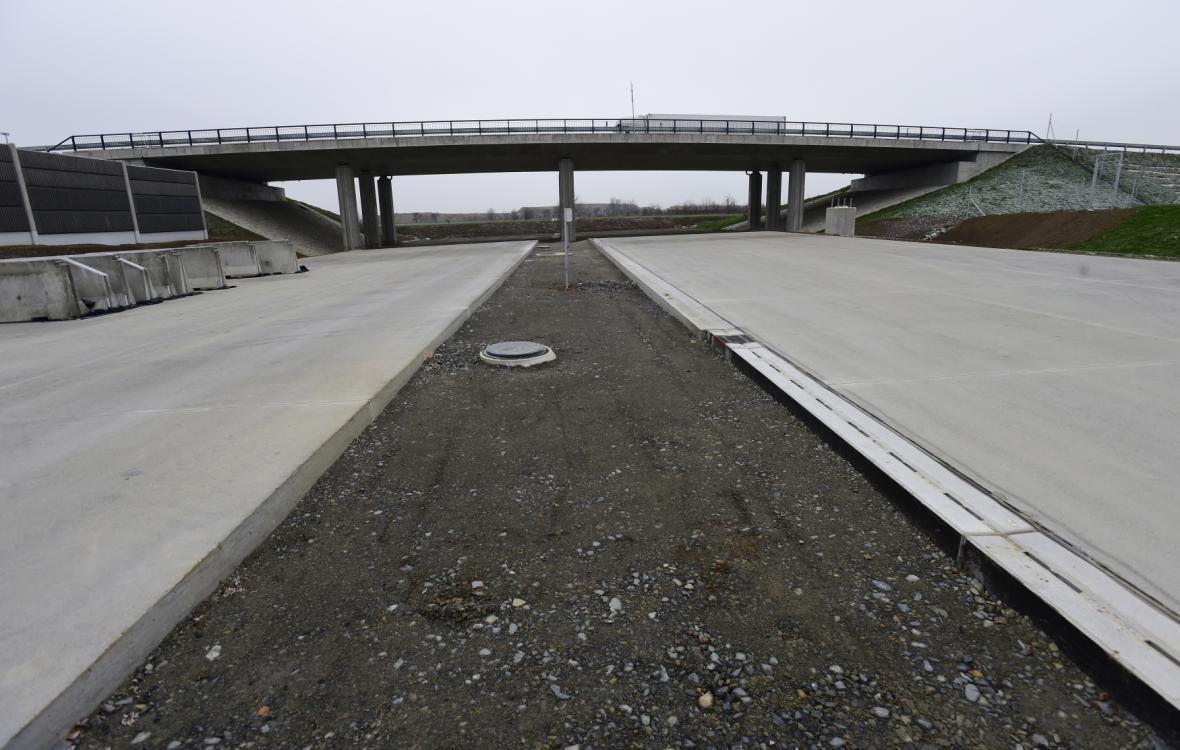Konec dálnice D1 v Přerově