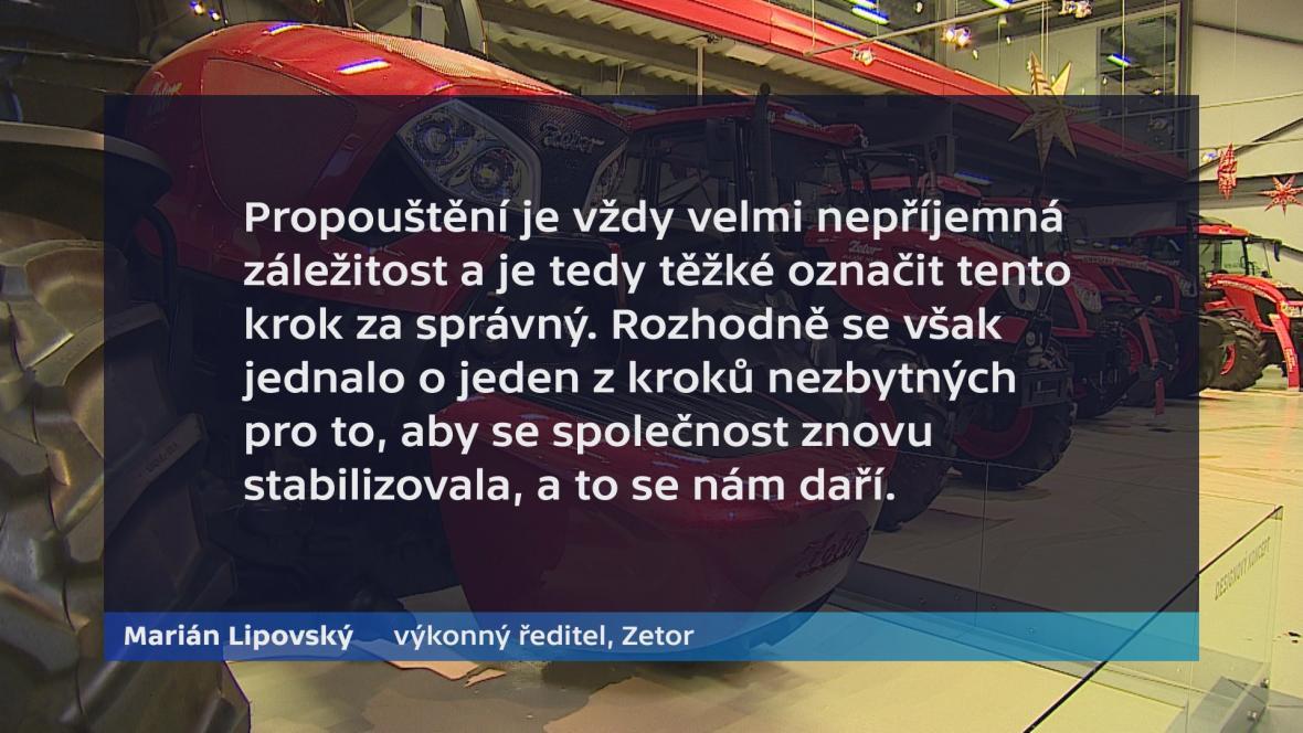 Vyjádření ředitele Zetoru Mariána Lipovského