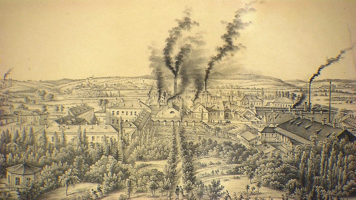 Kniplova litografie vítkovických železáren z roku 1855