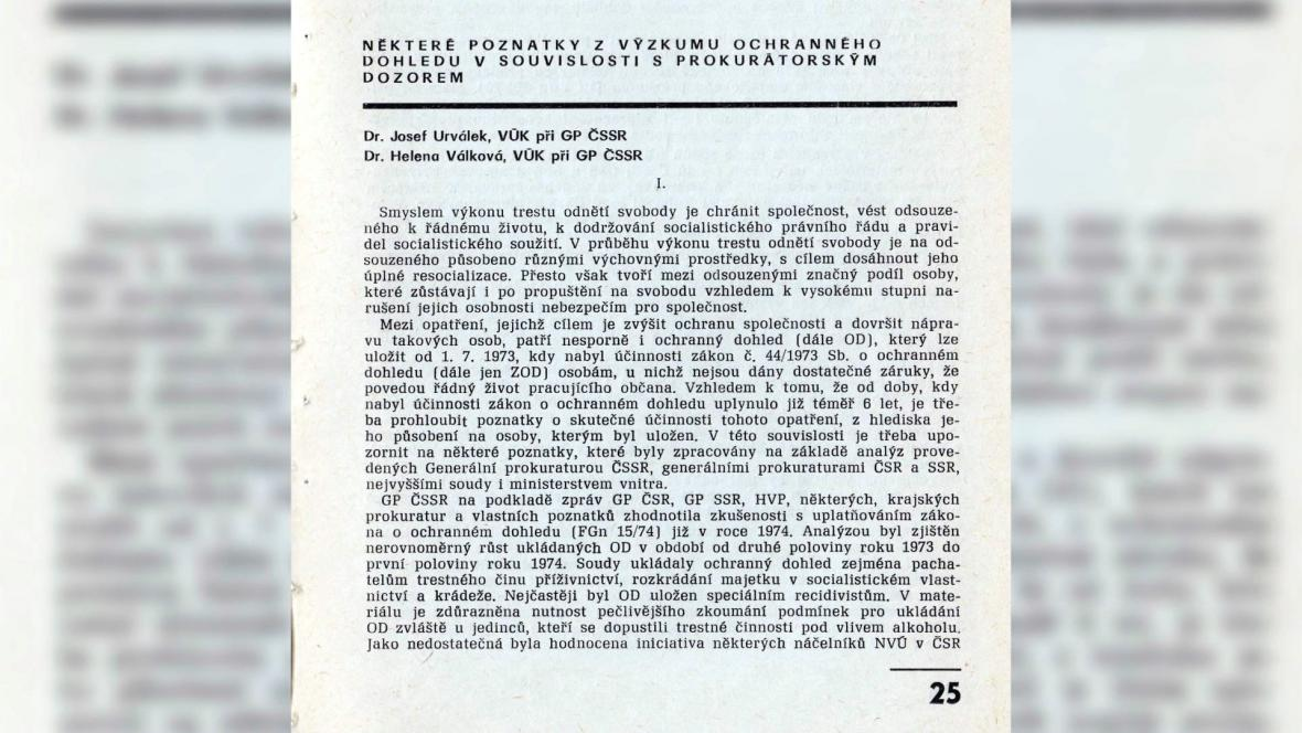 Článek Heleny Válkové a Josefa Urválka