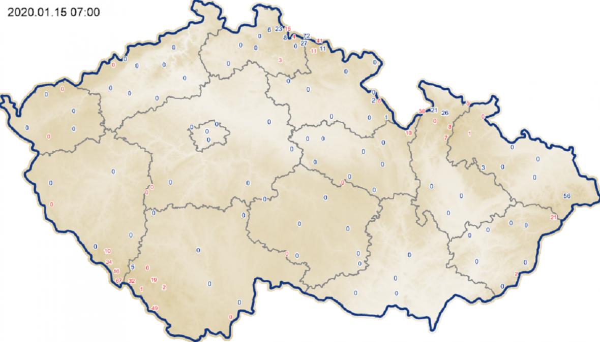 Výška sněhu v ČR