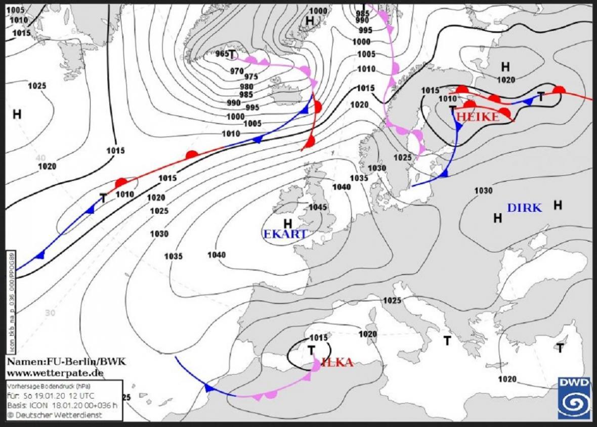 Až se tlaková výše Ekart posune nad jihovýchodní Evropu, do Česka zase začne proudit teplý vzduch