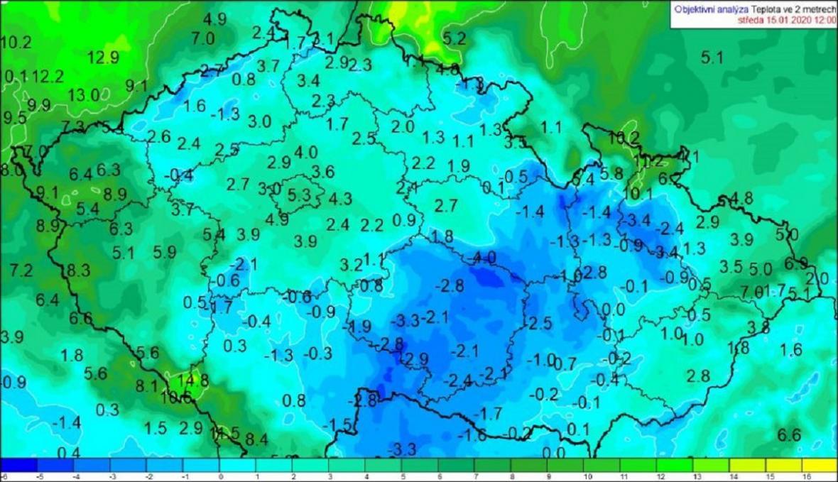 Teploty vzduchu 15. 1. 2020 ve 13 hodin SEČ