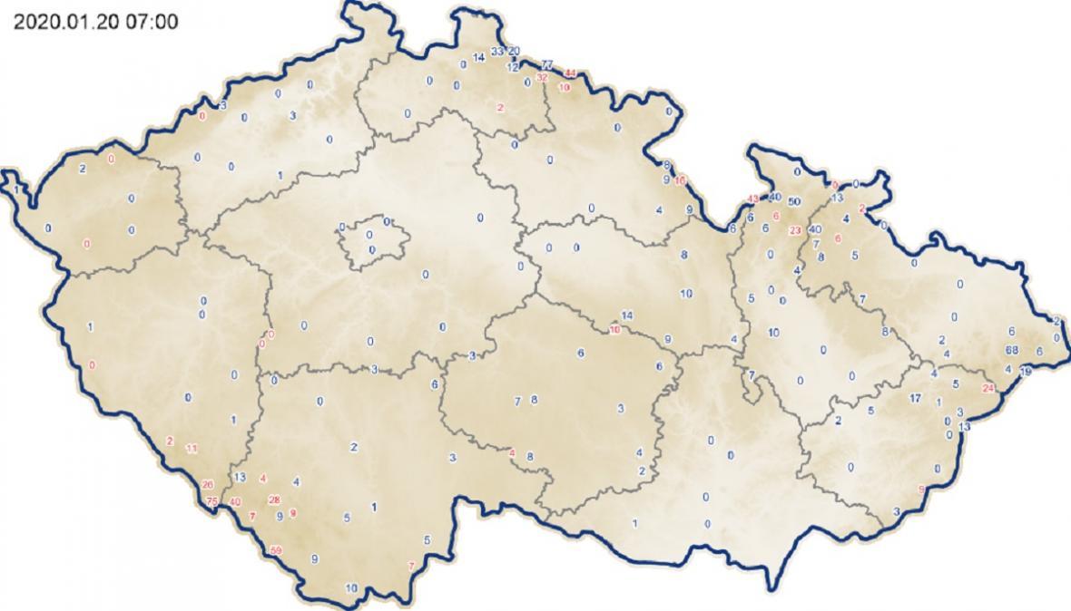 Výška sněhové pokrývky – 20. 1. 2020
