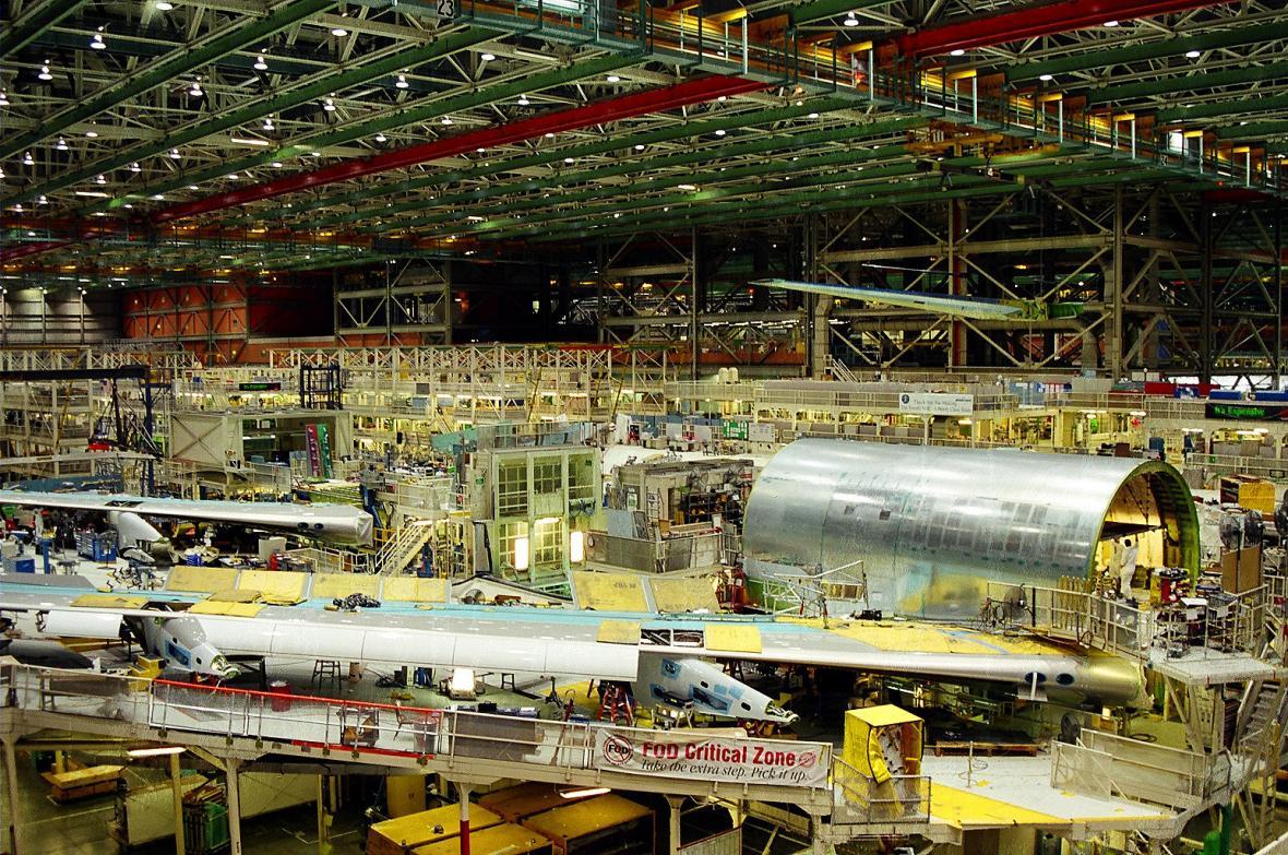 Konečná montáž Boeingu 747 v Boeing Everett Factory