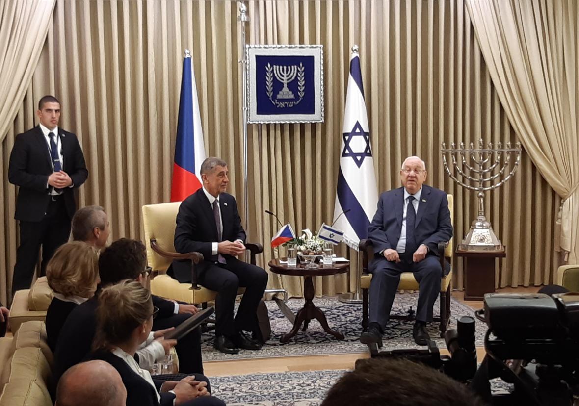 Andrej Babiš s izraelským prezidentem Reuvenem Rivlinem