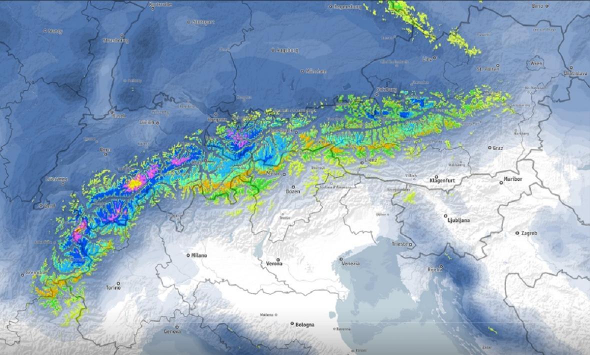 Kolik sněhu připadne v Alpách za 24 hodin od úterního do středečního rána