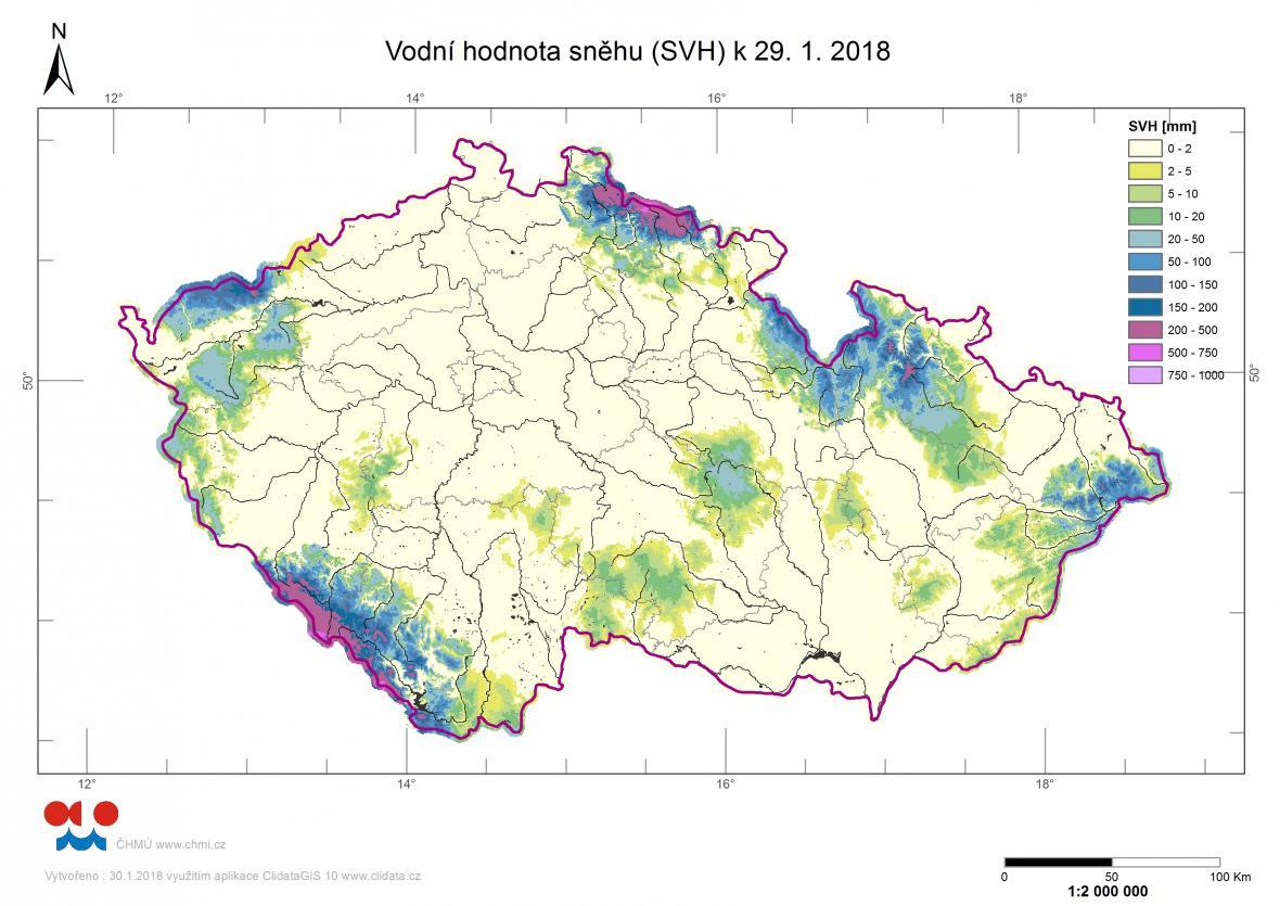 Zásoby vody ve sněhu na konci ledna 2018