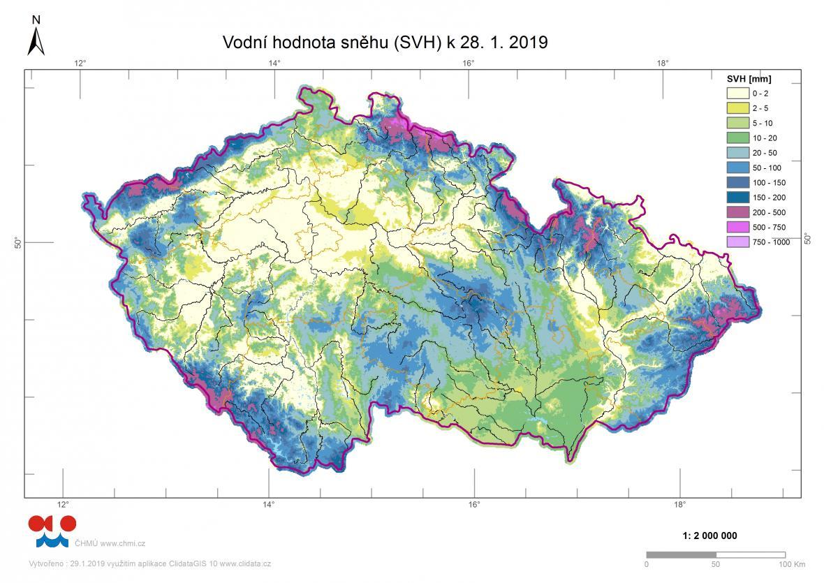 Zásoby vody ve sněhu na konci ledna 2019