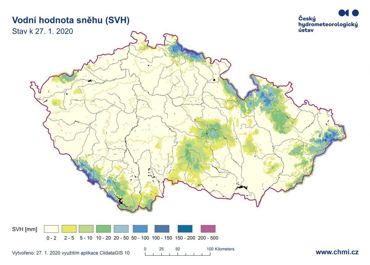Zásoby vody ve sněhu na konci ledna 2020