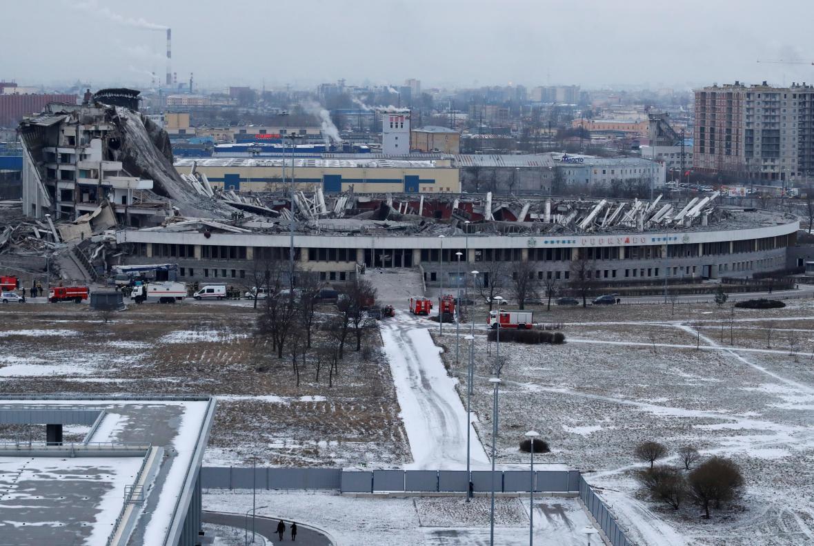 Zhroucený stadion v Petrohradu